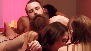 Slutty swinger babes banging in reality show orgy