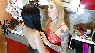 Young step sisters have sex in family kitchen - PART 1