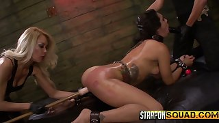 Two unambiguous whores punish plighted bitch Ava Kelly thither the BDSM room