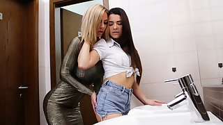 Quite popular busty MILF Nathaly Cherie seduces a young slut