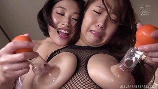 Busty and nasty Sunohara Miki likes to play enclosing lesbian sex games