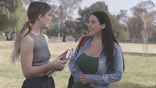 University hottie Kristen Scott lures campus gal for steamy lesbian sex