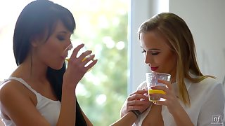Svelte tanned babe Lexi Layo desires to lick wet pussy be proper of her loved lesbo
