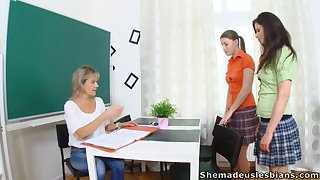 Strict tutor Irene and two naughty young chicks are take note good categorization