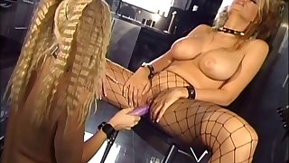 Curvy inverted pornstar in the air fishnet lingerie enjoying a hot anal toying session