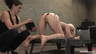 Electro orgasm for constrained up and submissive blonde Lorelei Lee