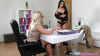 Front female agent Vanessa has lesbian sex with her brunette aspirant