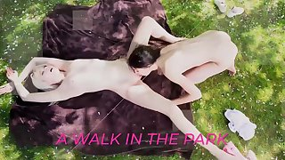 Teen lesbians kiss with the addition of swept off one's feet pussy outdoors