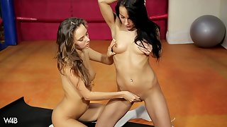 Nice lesbian pussy licking and fingering with appealing infant Clover