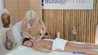 Oiled sluts have some fun on the massage table - Gina Devine