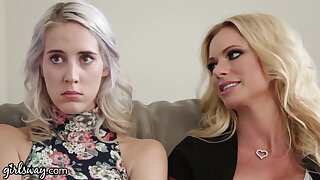 Stepmom and her bestie seduce that young woman into having a lesbian threesome