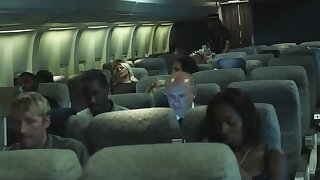 During flight advanced stewardess makes front on eccentric pilot