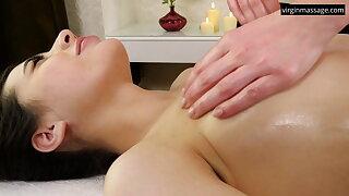 Jeanne Mathieu's first girl-girl massage first of all a ship aboard